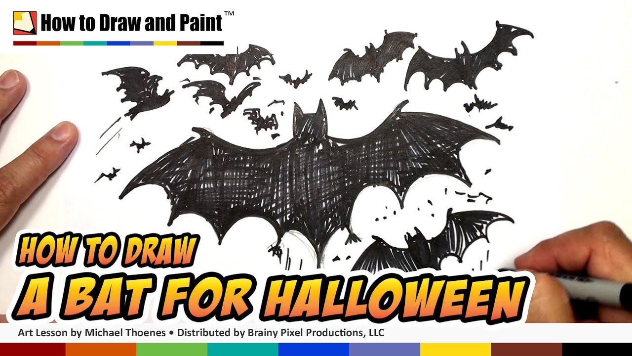 how to draw a bat halloween drawing lesson art for kids mat youtube - Easy Halloween Drawings For Kids