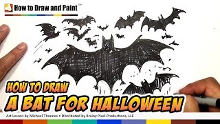How to Draw a Bat - Halloween Drawing Lesson