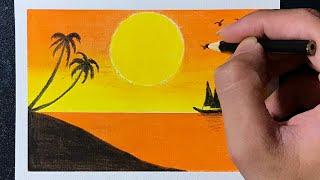 Cách Vẽ Tranh Phong Cảnh Biển Bằng Màu Sáp Dầu | how to draw sea scenery with  oil pastel