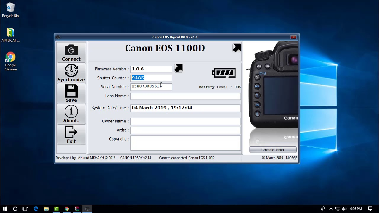 how to check canon dslr shutter count