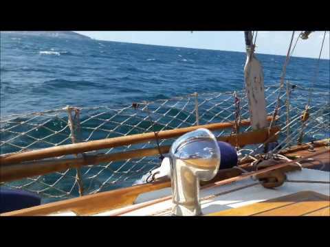Classic Gaff Cutter sailing under 30 knots wind