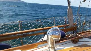 Classic Gaff Cutter sailing under 30 knots wind