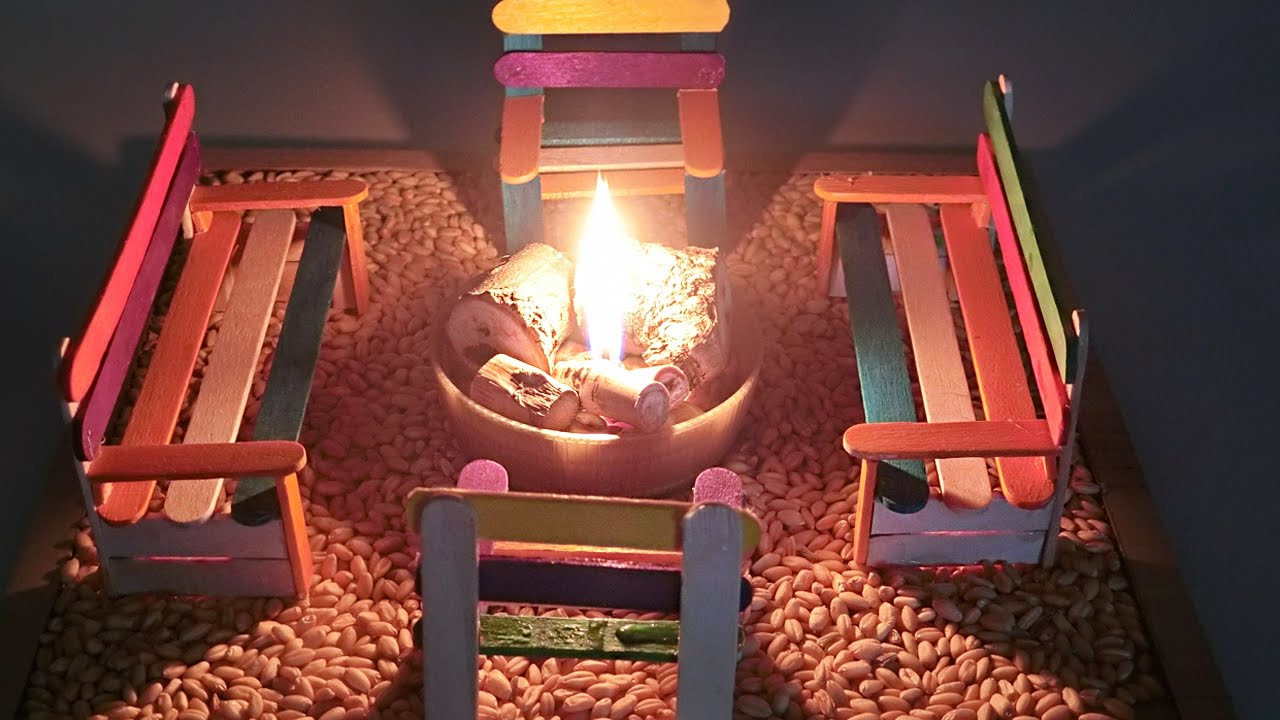 Miniature Outdoor Campfire  Popsicle stick bench  Crafts