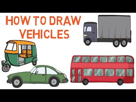 How to draw vehicles for kids - Drawing tutorials - Educational videos for kids - Simply E-learn