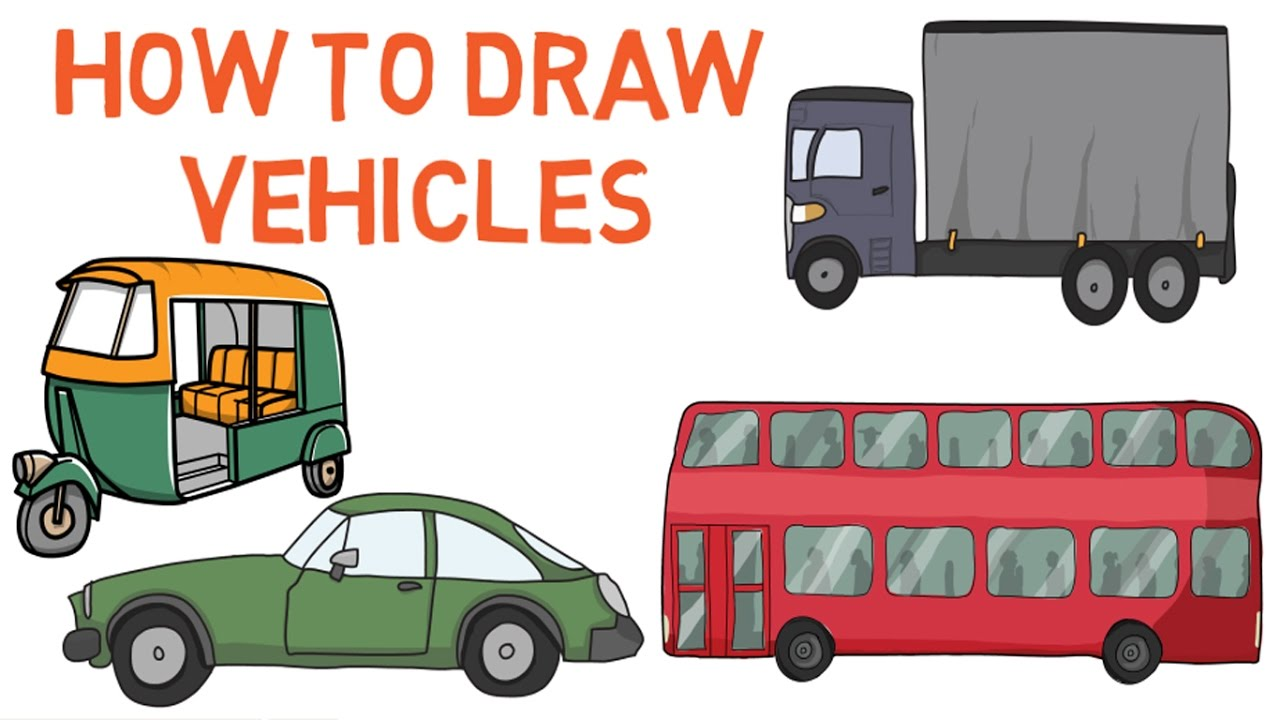 How to draw vehicles for kids - Drawing tutorials ...