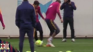 Messi puts Pique to shame in Barça training with a nutmeg