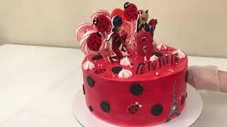 Торт для девочки ЛЕДИ БАГ Как сделать ЦИФРУ из ИЗОМАЛЬТА Красивый торт