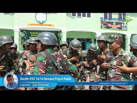 Dandim 0103 Yel Yel Bersama Prajurit Raider