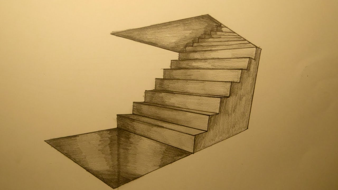 Drawing stairs in two point perspective - YouTube