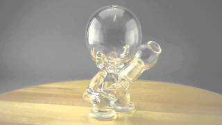 "D-ROCK - Clear ""Munny"" Vapor Rig w/ 14mm Dome, Dabber, and Fixed 2-Hole Diffy"