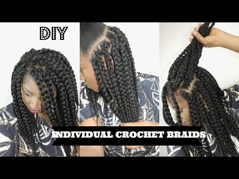 DIY INDIVIDUAL CROCHET BOX BRAIDS NO CORNROWS NEEDED