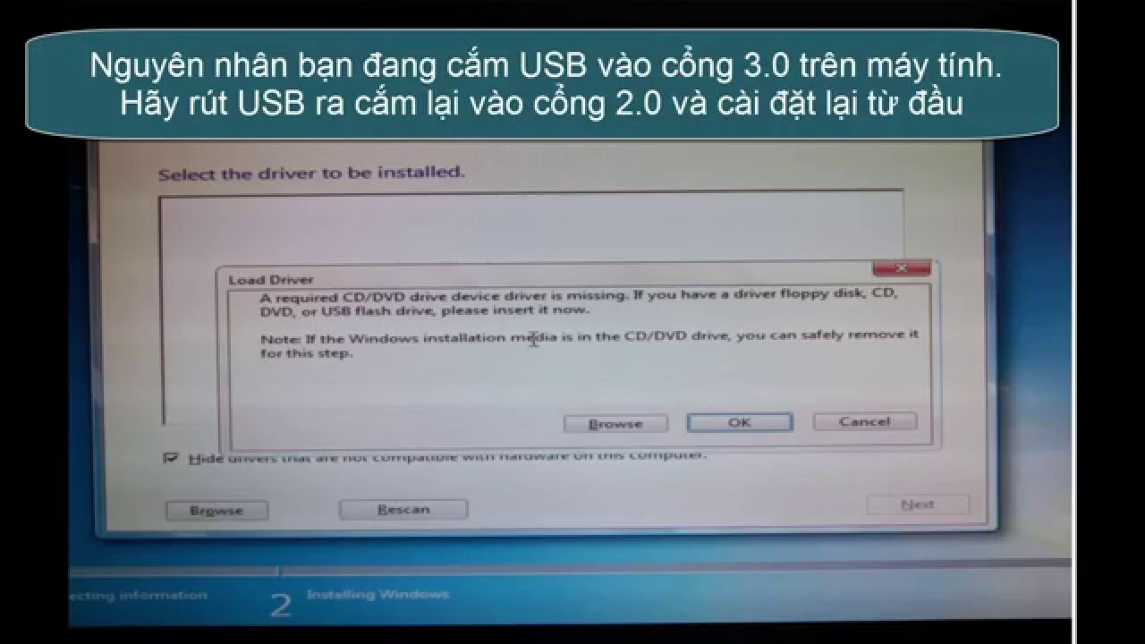 Sửa lỗi A required CD/DVD drive device driver is missing ...