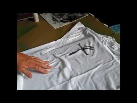 978cea91838641 Spray Your Logo onto a T-shirt using Fabric Spray Paint - YouTube