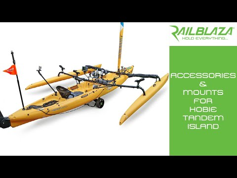 Accessories & mounts for Hobie Tandem Island kayak with RAILBLAZA: Welcome ... in this edition of Blaze your kayak we have the internationally popular Mirage Tandem Island from Hobie Kayaks. With a selection of RAILBLAZA mounts and accessories we will show you how our system is purpose built for a kayak like this. for more information on the products used in this video see our website http://www.railblaza.com/