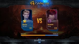 StarCraft 2 LotV Cybbet Race Wars 2016 Day 2 Match 6: Bunny vs Scarlett(Матч второго игрового дня турнира Cybbet Race Wars. Анонсы стримов: https://twitter.com/Alex007UA Партнер трансляции: http://cybbets.com/a..., 2016-01-27T11:00:00.000Z)