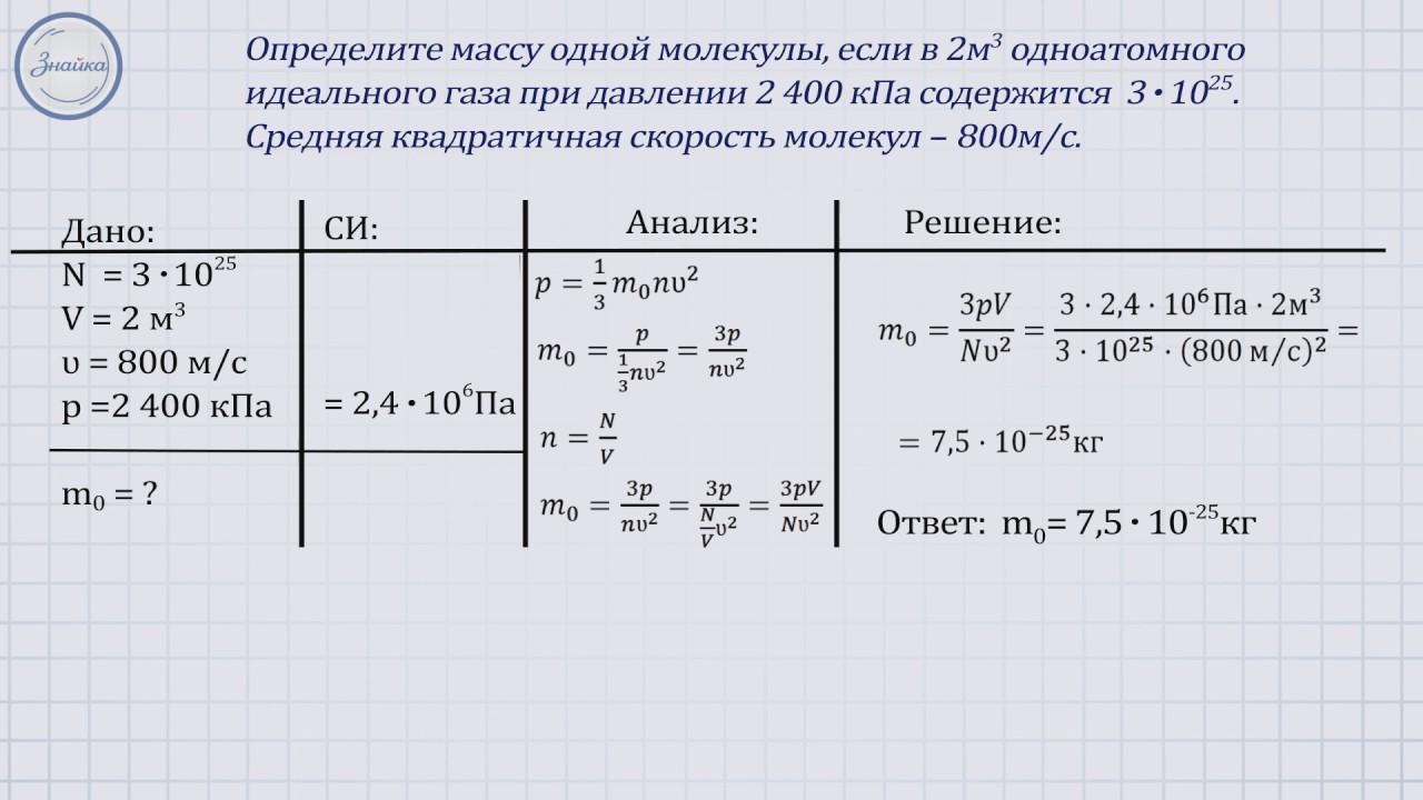 Решение задач по мкт идеального газа решить задачу онлайн бесплатно 4 класс