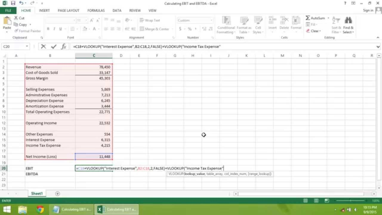 Excel 2013 tutorial how to calculate ebit and ebitda youtube.