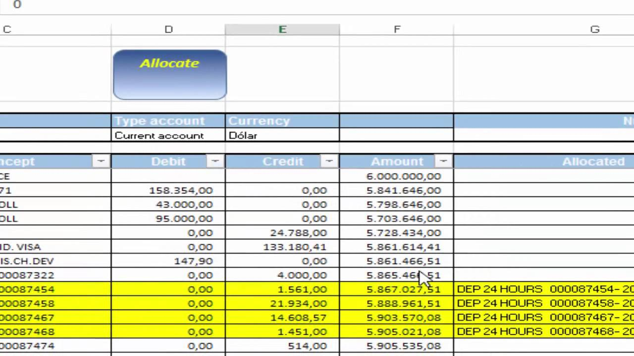 how to do bank reconciliation vs accounting records with excel