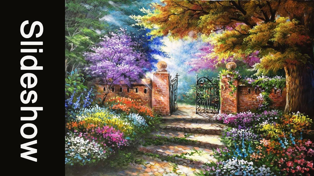 Beautiful Garden Gates Acrylic Painting (40 X 50cm)   Slideshow Version
