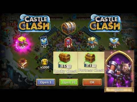 Castle Clash : 43 Fortress Feud Chest 15 Lucky Chest And F2P Gem Rolling