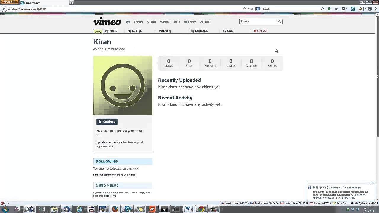 Create Vimeo Account in less than a Minute and explore basic things