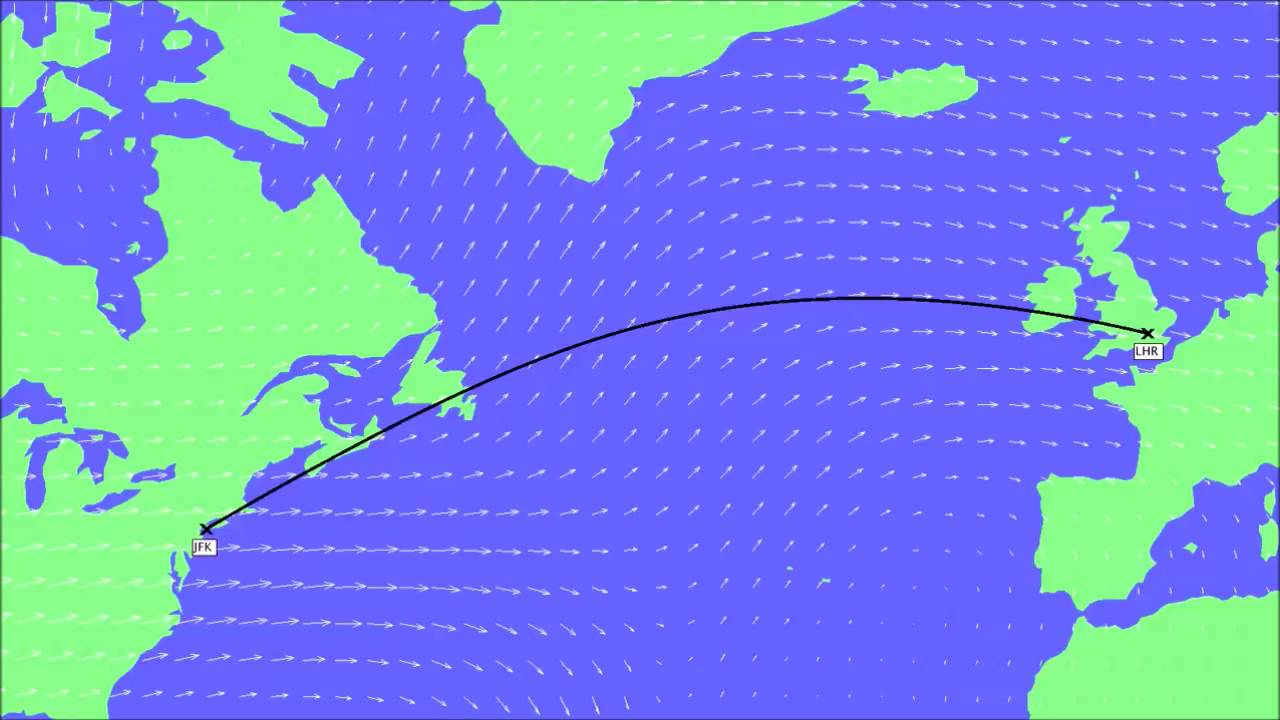 Transatlantic Flight Routes and Jet Stream Winds - YouTube