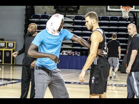 KEVIN GARNETT & SAM CASSELL TEACHING BLAKE GRIFFIN DIFFERENT POST MOVE TECHNIQUES. HoopJab NBA