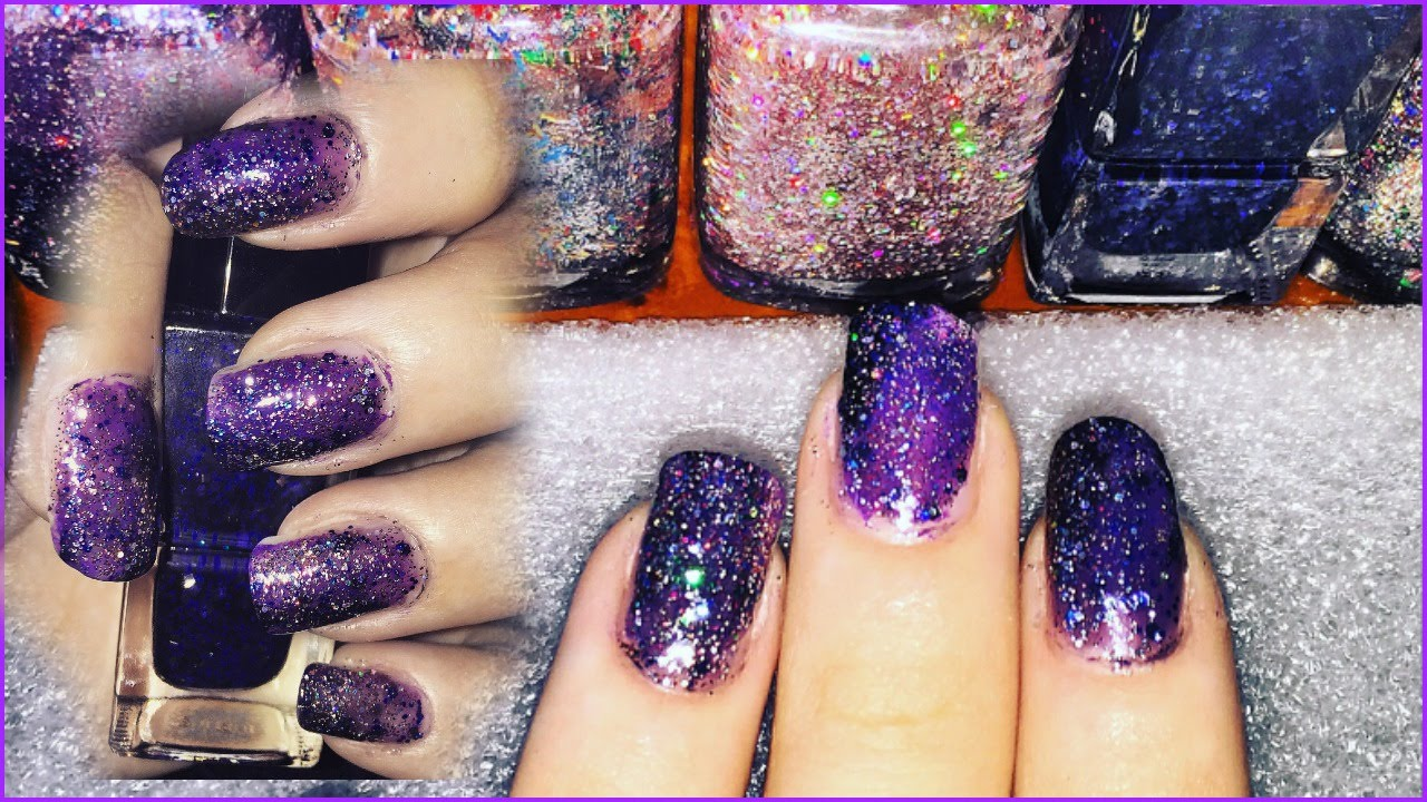 DIY : Galaxy Nails ♥ - YouTube
