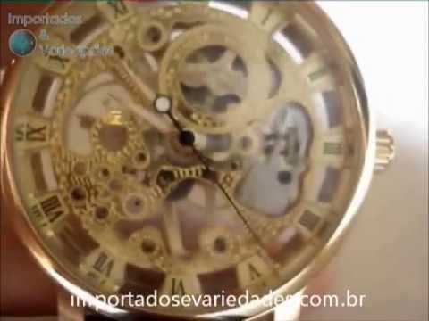 6984401b4b0 Relógio Winner Esqueleto Transparente Automático Dial de Ouro ...