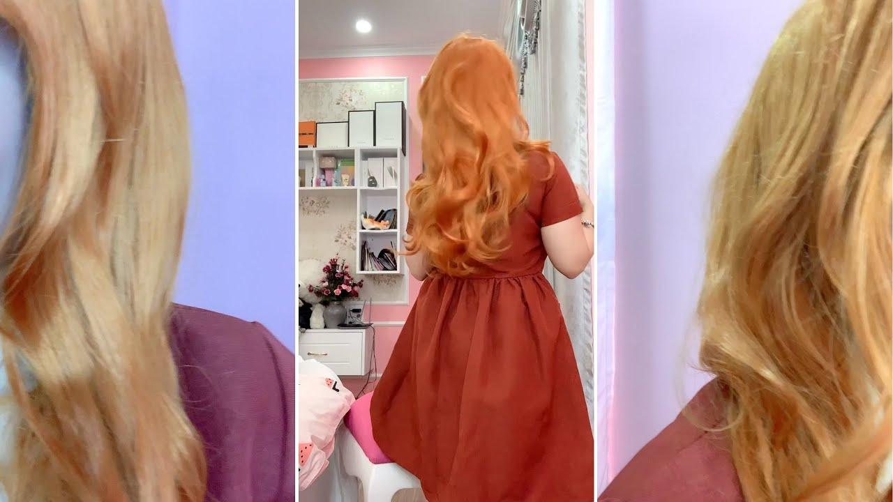 TỔNG HỢP TIKTOK Lần đầu đội tóc giả cho thử thách ngày toàn màu cam nha😅