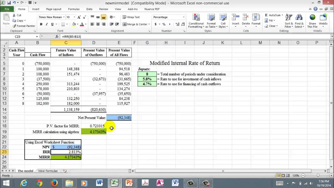 Excel spreadsheet for mirr irr and npv youtube excel spreadsheet for mirr irr and npv alramifo Choice Image