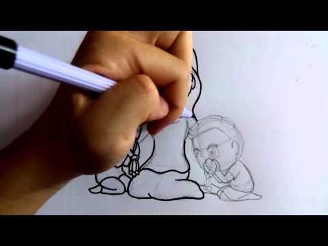 สอนวาดภาพ การ์ตูน วันแม่ ep02 ตัดเส้นปากกา