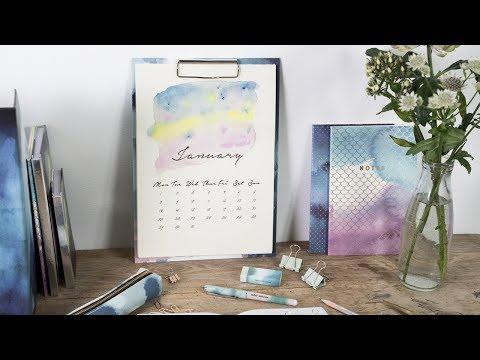 DIY : Creative calendar with watercolour by Søstrene Grene