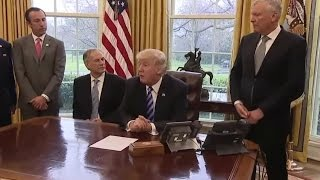 President Trump Meets with Charter CEO Thomas Rutledge and TX Governor Greg Abbott 3/24/17 thumbnail