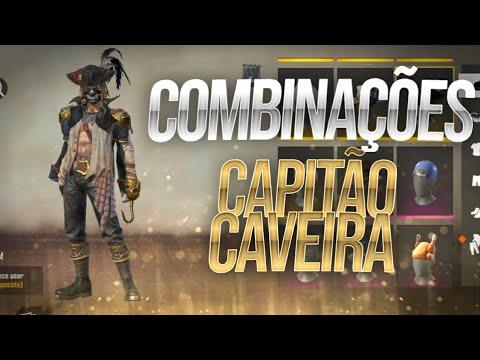 MELHORES COMBINAÇÕES DE ROUPAS NO FREE FIRE - COM PACOTE CAPITÃO CAVEIRA