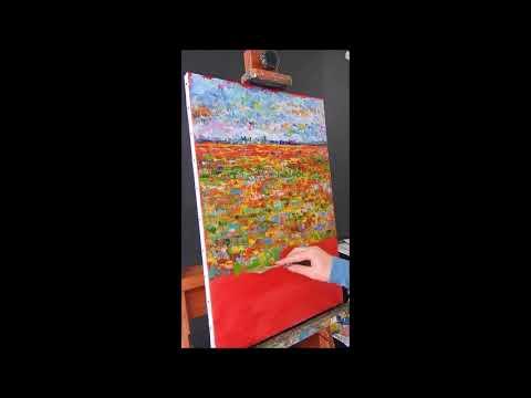 """ Millefiori Landscape 2″, palette knife landscape oil painting, by Nathalie JAGUIN"