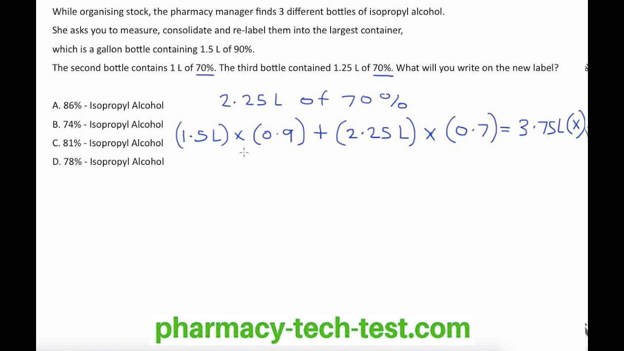 Solution mixture math for pharmacy technicians youtube xflitez Choice Image