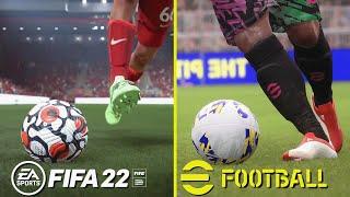 FIFA 22 vs eFootball (PES 2022) Early Graphics & A