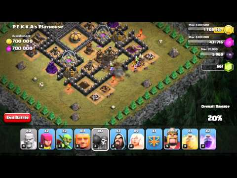 Clash of Clans Walkthrough of #49 PEKKA's Playhouse using TH7 troops only
