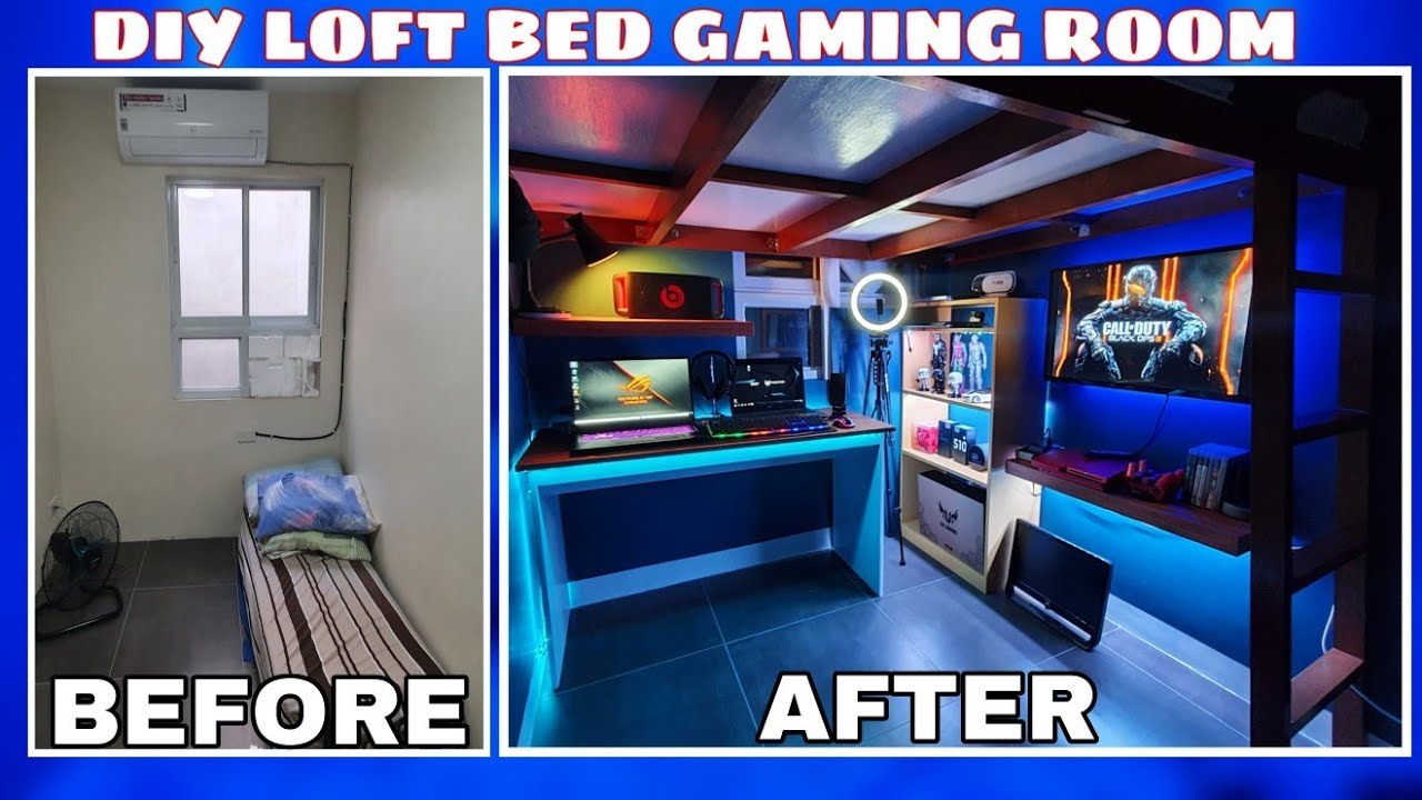 Diy Loft Bed Budget Gaming Room Setup Small Bedroom Makeover Gaming Area Led Lighting Youtube
