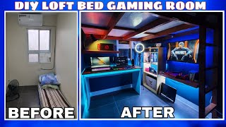 DIY LOFT BED | BUDGET GAMING ROOM SETUP | Extreme small Bedroom makeover Gaming Area - 2021