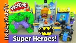 LEGO Emmet Batman Spiderman BUILD Lego Junior Batcave Hulk Smashes! Box Open HobbyKidsTV