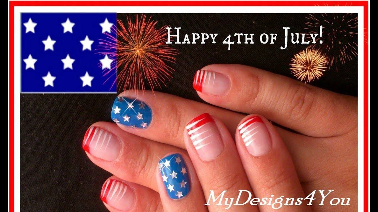 4th of july nails easy design for short nails stars and stripes youtube