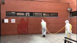 La UME desinfecta residencias, hospitales y otros centros de Salamanca