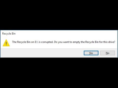 Solution - The Recycle Bin on E is corrupted. Do you want to empty