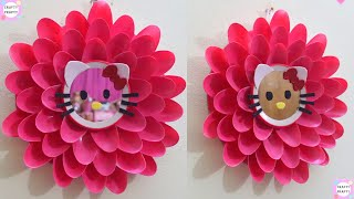 DIY Hello kitty Blooming Flower Mirror From Plastic Spoons/Best Out Of waste /manualidades/  ハローキティ