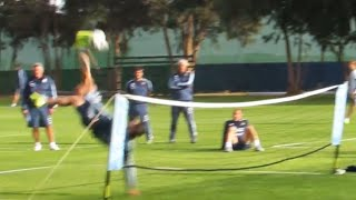 Angel Di Maria Delivers Amazing Overhead Kick During Foot-Tennis Game