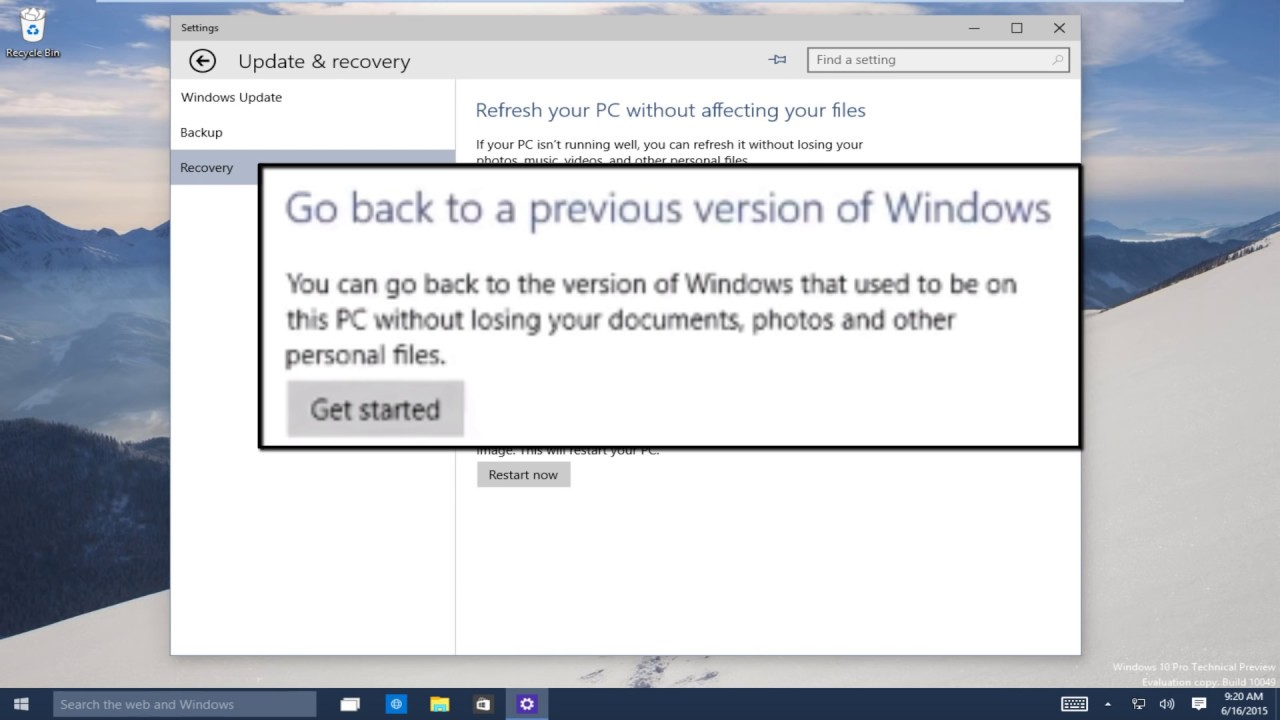 how to downgrade to windows 7 on windows 10