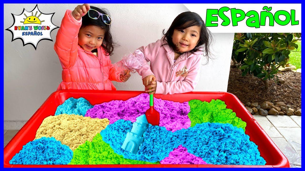 Emma y Kate juegan con Arena Cinética Arcoíris Juguetes de los Niños!!!