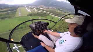 Albertville exercice de panne moteur hélicoptère Hiller UH12B (jfsm)